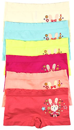 ToBeInStyle Girls' Pack of 6 Enchanted Bunny Seamless Boyshorts - L