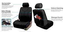 FH GROUP FH-PU009115 Rome PU Leather Full Set Car Seat Covers, Airbag compatible and Split Bench, Solid Black - Fit Most Car, Truck, Suv, or Van