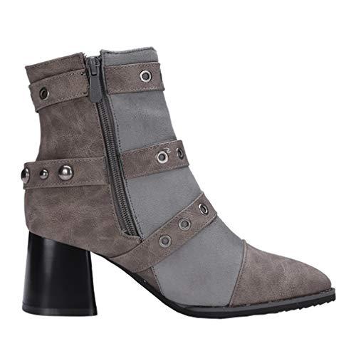 vaxzpt 6CM Toe Grey Zipper Women Heel Block Boots UK 6 Pointed Vaneel Ixawf6f