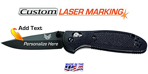 Custom Laser Engraved Benchmade Mini Griptilian Knife Black ()