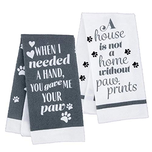 Hand Towels Pet Kitchen Decor, for Pet Lovers (15 x 25 inches) Gray and White, 2-pc. Bundle