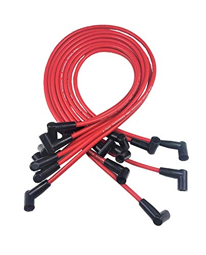 A-Team Performance Spark Plug Wire Set High Performance Fits Small Block Chevrolet Chevy GM 283 305 307 327 350 400 Red Silicone ()