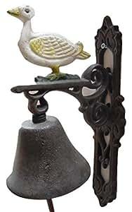 Campana para puerta campana pared Campana Hierro Fundido Juego de 2País Diseño de Casa: Pato H: 31,5cm
