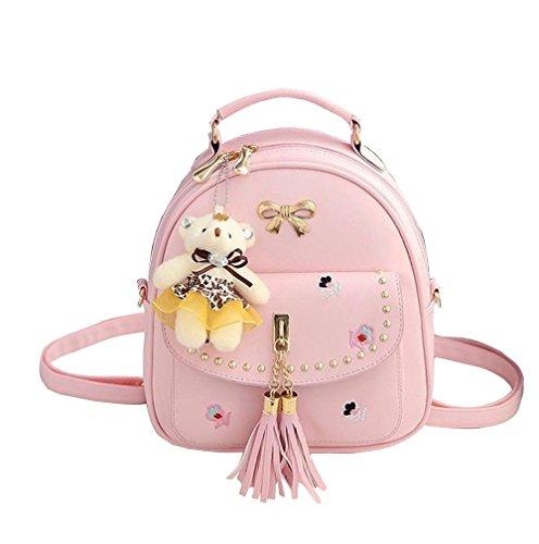 KYOKIM 2018 Ladies Tassel Casual Zipper PU Bolso Mujeres Mochilas Estilo Elegante Para Niñas Pink