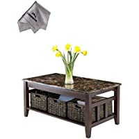 Zoey Coffee Table Faux Marble TopWith Chanasya Polish Cloth