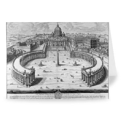 The Vatican, Rome (engraving) by Giovanni.. - Greeting Card (Pack of 2) - 7x5 inch - Art247 - Standard Size - Pack Of 2 ()