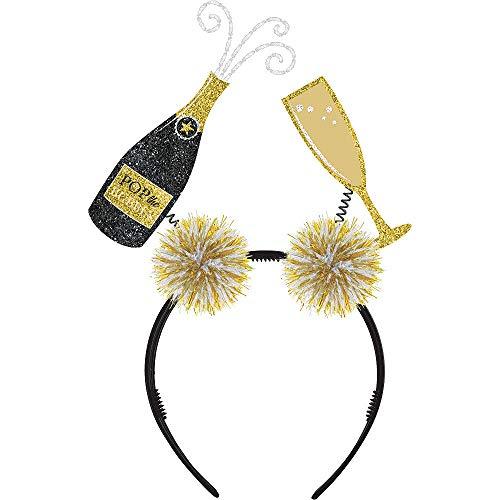 (3X Pack) Glitter Champagne Bottle & Flute Head Bopper 8 1/4in x 6 1/2in Foam & Plastic Accessory  Holiday Parties New Year's Hats, Tiaras, Wearables