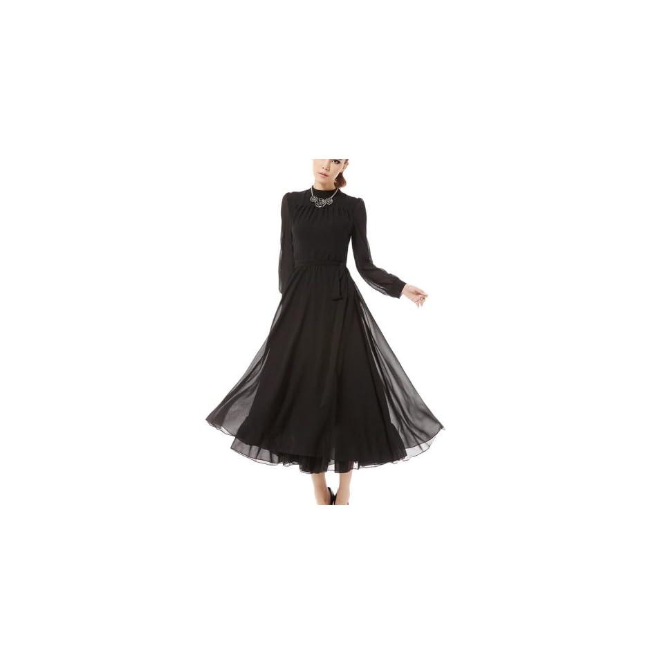 Snow Spinning Skirt Long Dress Skirt Female Long Sleeve Retro dress
