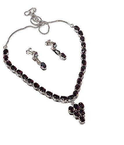 Be You plaqué magnifique rouge grenat diamant oeil rhodium argent boucle d'oreille et collier ensemble sterling pour les femmes