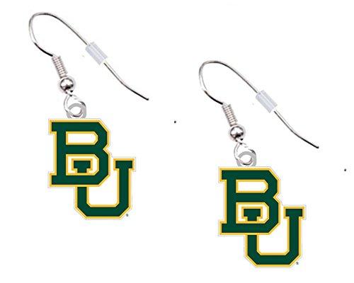 Baylor University Silver-tone Dangle Logo Earrings (Pierced) (1/2 Logo Dangle Earrings)