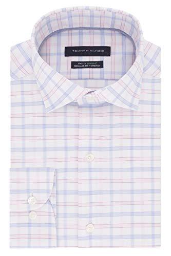 - Tommy Hilfiger Men's Dress Shirts Regular Fit Check, Light Pink Multi, 17