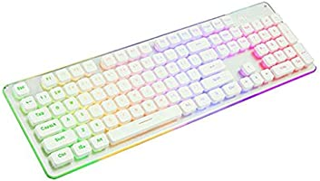 HourenJP Full-Sized Membrane Keyboard Retro Keyboard Removable 104-Key Anti-Ghosting Foldable Stand Game Keyboard with Rainbow Backlight for Windows iOS