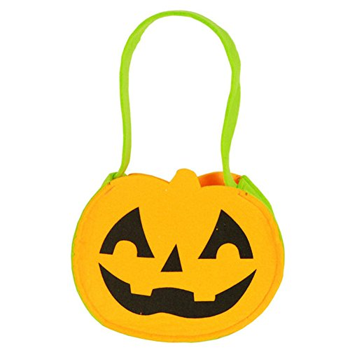 KingBig Children's Non-woven Hand-held Pumpkin Bag Trick or Treat Candy Bag Candy Bucket Handbag for Kids Halloween Dress Up (Yellow Pumpkin)