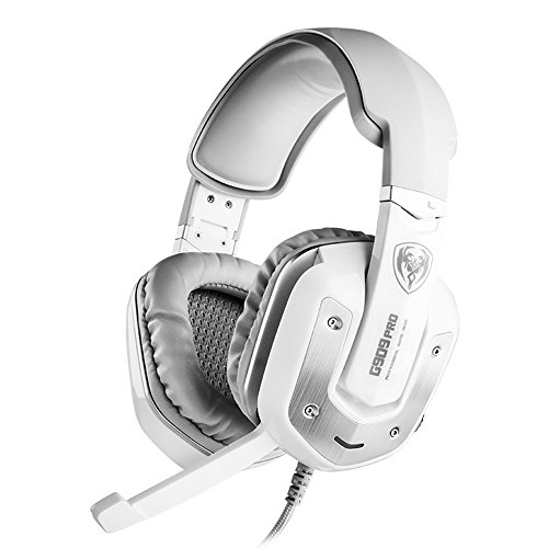 - SOMIC G909PRO Gaming Headset,7.1 Virtual Surround Sound USB Over Ear Bass Headphone for PS4,PC with Mic,Volume Control,LED(White)