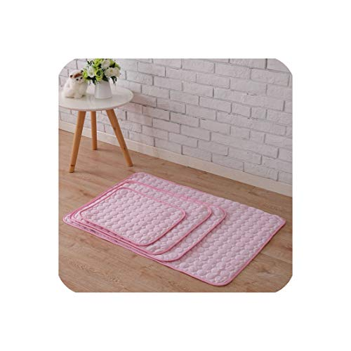 Dog Pad Summer Cooling Mat Cat Dog Beds Blue Pink Coffee Pet Ice Cool Cold Silk Cushion Puppy Sleeping Blanket Pet Accessories,Pink,70x55cm
