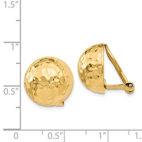 14k Yellow Gold Omega Clip 14mm Hammered Non Pierced On Earrings Ball Button Fine Jewelry Gifts For Women For Her by ICE CARATS (Image #4)