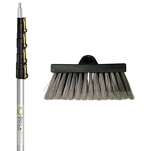 DocaPole 6-24 Foot Soft Bristle Scrub Brush Extension Pole | Car Wash Brush Extension Pole | Long Handle Scrub Brush and Deck Brush for House Siding, Windows, Deck, Car, Truck, RV and more