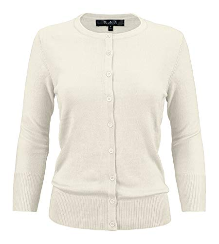 - YEMAK Women's 3/4 Sleeve Crewneck Button Down Knit Cardigan Sweater CO079-IVR-L Ivory