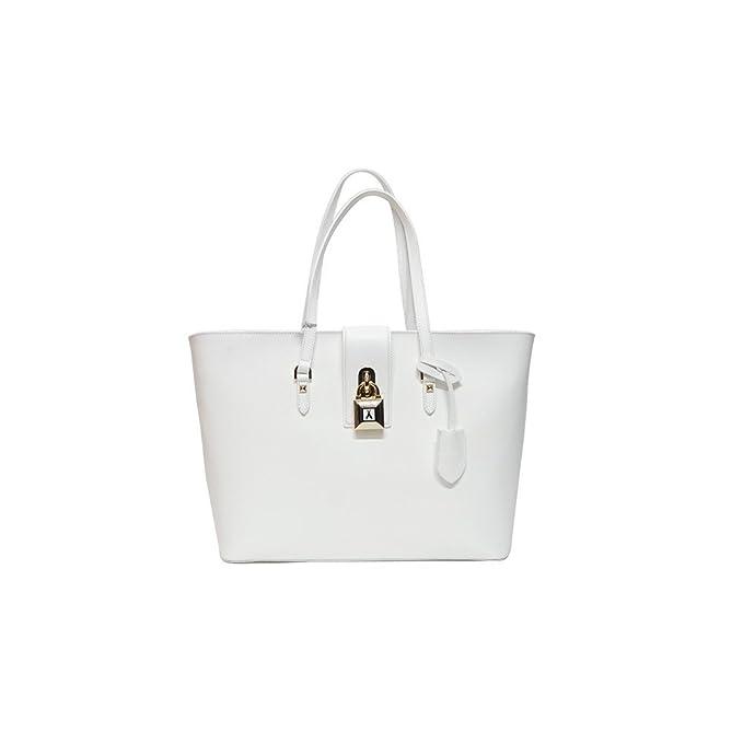 PATRIZIA PEPE Tote bag   Borsa shopping Pelle di vitello Donna BIANCO PZ   Amazon.it  Abbigliamento 5bf96670dfb