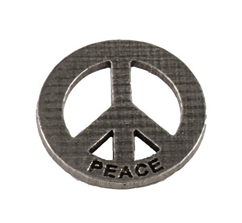 Peace Sign Symbol Engraved Pewter Lapel Pin, Brooch, Jewelry, A249
