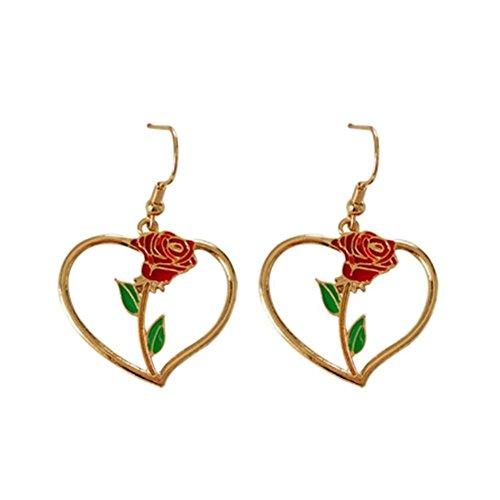 JaneDream Women Bohemian Love Rose Flower Hollow Heart Earrings Drop Dangle Earrings Romantic Cute Red