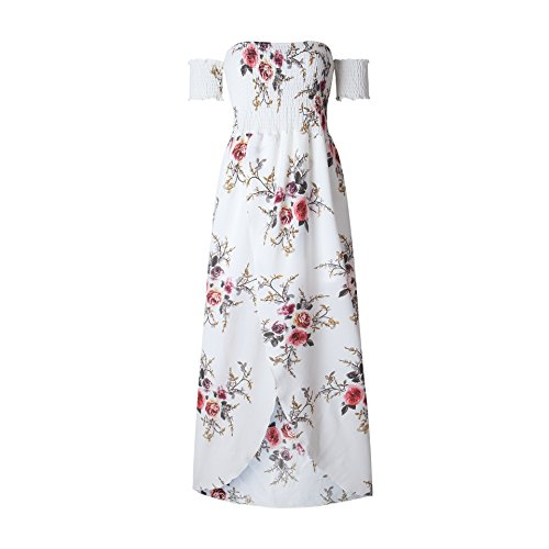 bb99b14c3ba2 Felicity Young Women Off Shoulder Short Sleeve Floral Long Maxi Dress for  Wedding Guest