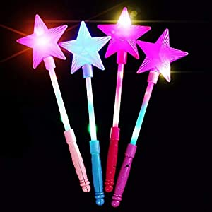 dontdo Star Fairy Wand Kids LED Flashing Glow Stick Wand Five-pointed Toy Random Color