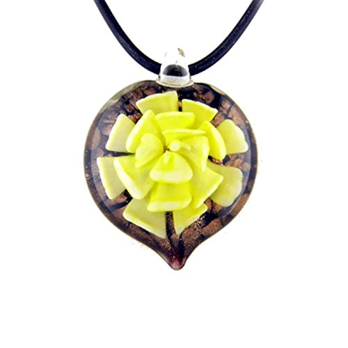 Murano-style Glass Yellow Flower Heart Pendant Rubber Cord Necklace, 20