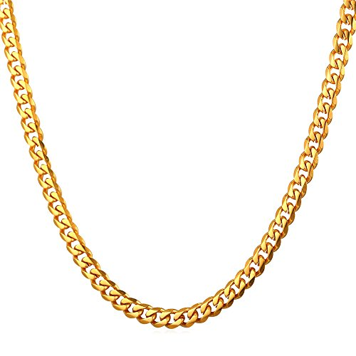 U7 3mm Curb Chain Men Women 18K Stamp Gold Plated Cuban Necklace 22