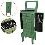 Flex HQ Wooden Jewelry Treasure Armorie Cabinet Chest Big Storage Box Organizer Drawer with Mirror Green