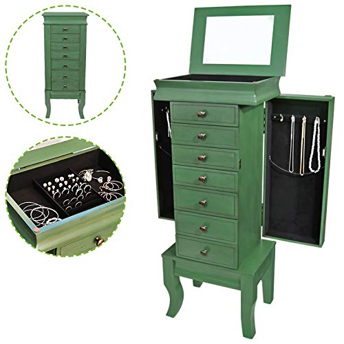 Flex HQ Wooden Jewelry Treasure Armorie Cabinet Chest Big Storage Box Organizer Drawer with Mirror Green
