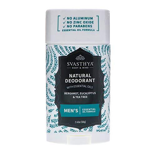Svasthya Natural Deodorant for Men with Essential Oils | Bergamot, Eucalyptus and Tea Tree | Zinc Oxide Free, Paraben Free, Aluminum Free - 100% Natural & No Artificial Fragrance, 2.45 oz