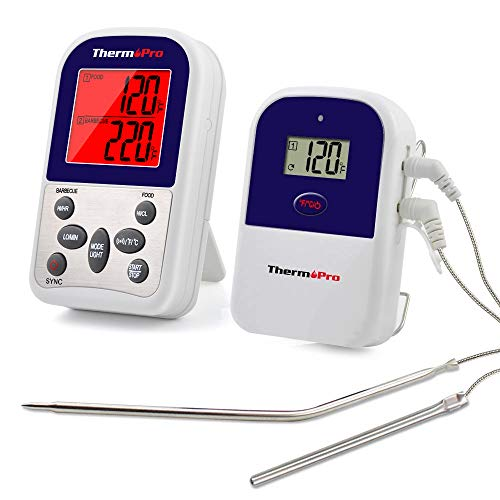 Thermopro Tp12 Wireless Digital Meat Thermometer For Grilling Oven Smoker Bbq Grill Thermometer With Dual Probe 300 Feet Range