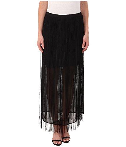DKNYC Women's Fringed Maxi Skirt, Black, 6