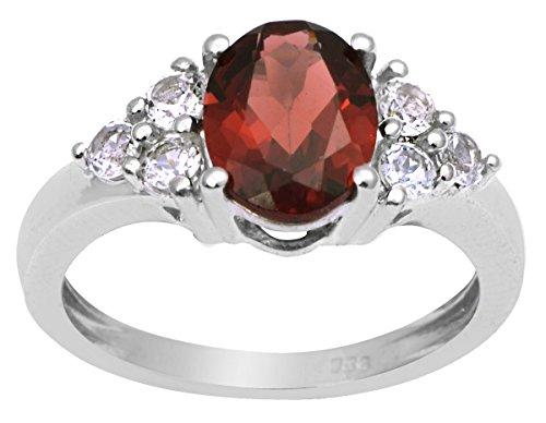 Banithani 925 en argent massif cadeau de bijoux de créateur de bande bague de pierres précieuses grenat pour elle