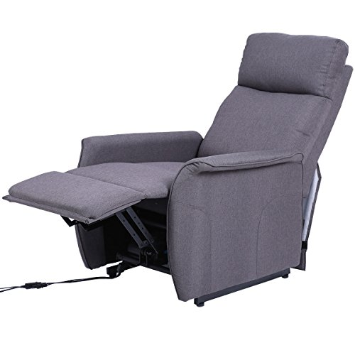 Recliner Sofa Electric Power Lift Chair Seat Living Room Fabric Padded Gray with (Bedroom Rattan Futon Frame)