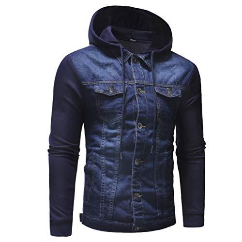 Longues Tops Veste Bleu avec Distressed Manteau Manches d'hiver Demin Vintage New Hoodies Hommes Casual Blouse zahuihuiM 2018 Poche 7qP8TUT
