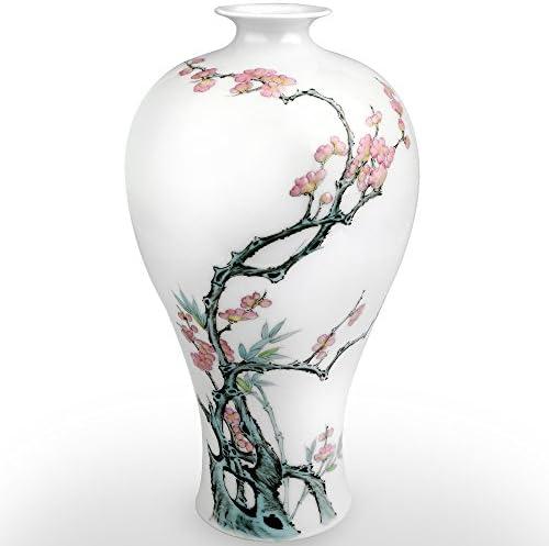 XUZOU Traditional Chinese Ceramic Decorative Jar Vase,Jingdezhen Oriental Handcrafted Porcelain Decro