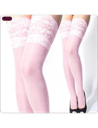 TESOON Women's Lace Top Sheer Thigh High Silk Stockings