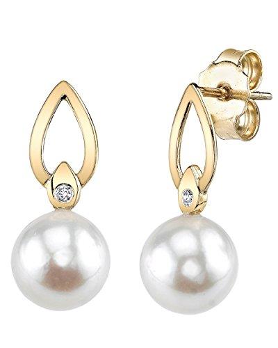 14K Gold Akoya Cultured Pearl & Diamond Lisa Earrings
