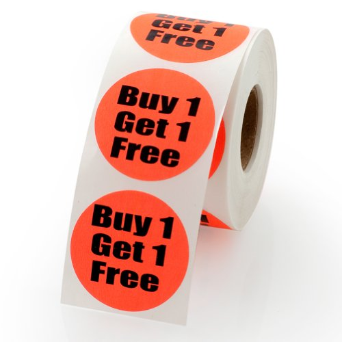 """Buy One Get One Sale Retail Pricing Labels / Stickers 1.5"""" - 500 labels per roll, 1 roll per package"""