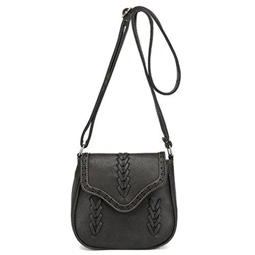 besace bandoulière Messenger Noir Femmes Fulltime® fourre bandoulière à cuir rétro sac sac tout vqq0S