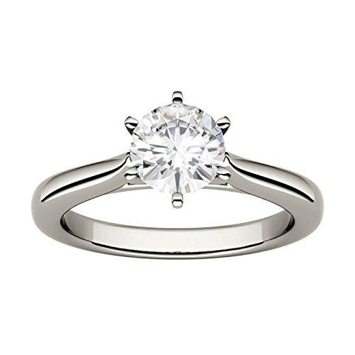 Forever One Round 6.5mm Moissanite Engagement Ring-size 6, 1.00ct DEW By Charles & Colvard