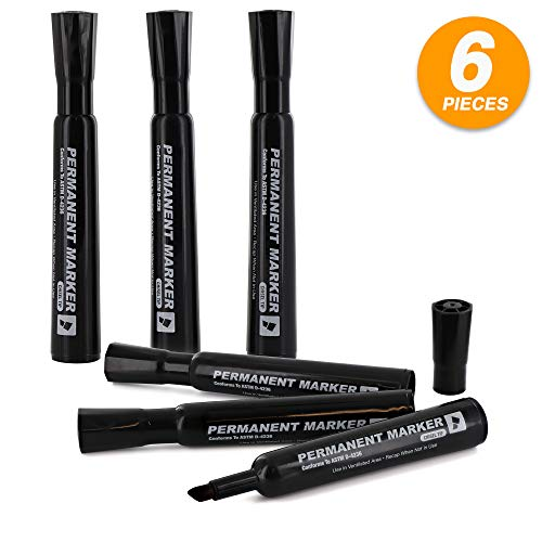 Emraw Black Chisel Tip Desk Style Permanent Markers Dry Erase Low Odor Whiteboard Comfortable Grip Office Markers for Paper and Plastic Mini Sharpie Pens Pack of 2