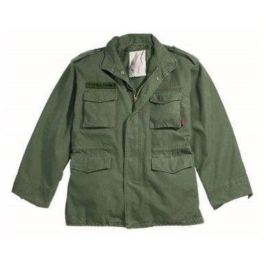 Authentic Military Vintage M-65 Field Jacket, Olive, XL