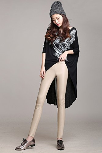 H.coosy practical;cozy Autumn and winter Europe and the United States large size plus velvet PU color leather pants high waist tight leggings pants apricot L