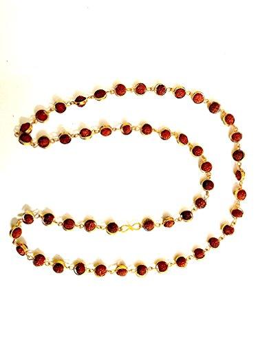 Price comparison product image Maa Padma Farms Rosary 108 No.s of Rudraksha / Original Rudraksha Mala in Golden Ring- Vrindavan1066
