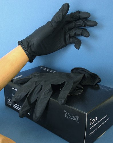 Montana Cans MXG226946 Disposable Black Latex, Large, Box/100 Gloves