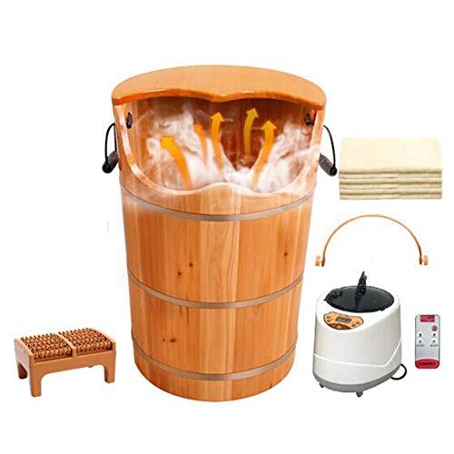 QY Wooden Barrel Foot Bucket Foot Bath Barrel Fumigation Bucket Steam Pedicure Healthy Family Raise Your Heart and Nourish Steamed Foot Bucket Footbath Household Chinese Fir Health Bucket 60CM