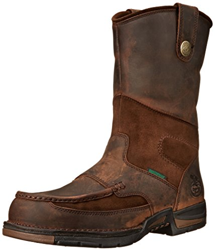 Georgia Boot Men's Georgia Athens Wellington Work Boot Work Shoe, Brown, 9.5 W US Mens Brown Steel Toe Boot